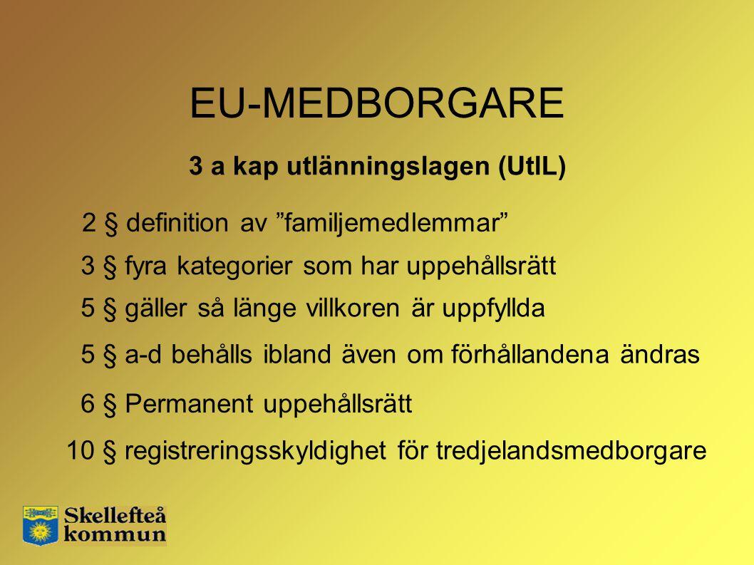 """EU-MEDBORGARE 3 § fyra kategorier som har uppehållsrätt 2 § definition av """"familjemedlemmar"""" 3 a kap utlänningslagen (UtlL) 6 § Permanent uppehållsrät"""