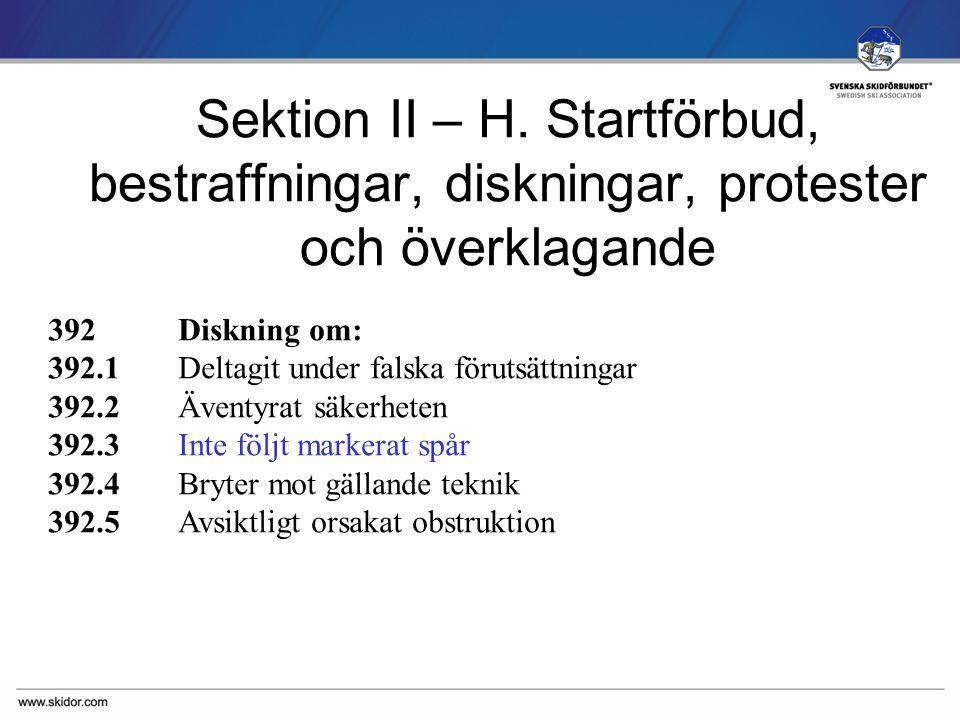 SVENSKA SKIDFÖRBUNDET Sektion II – H.