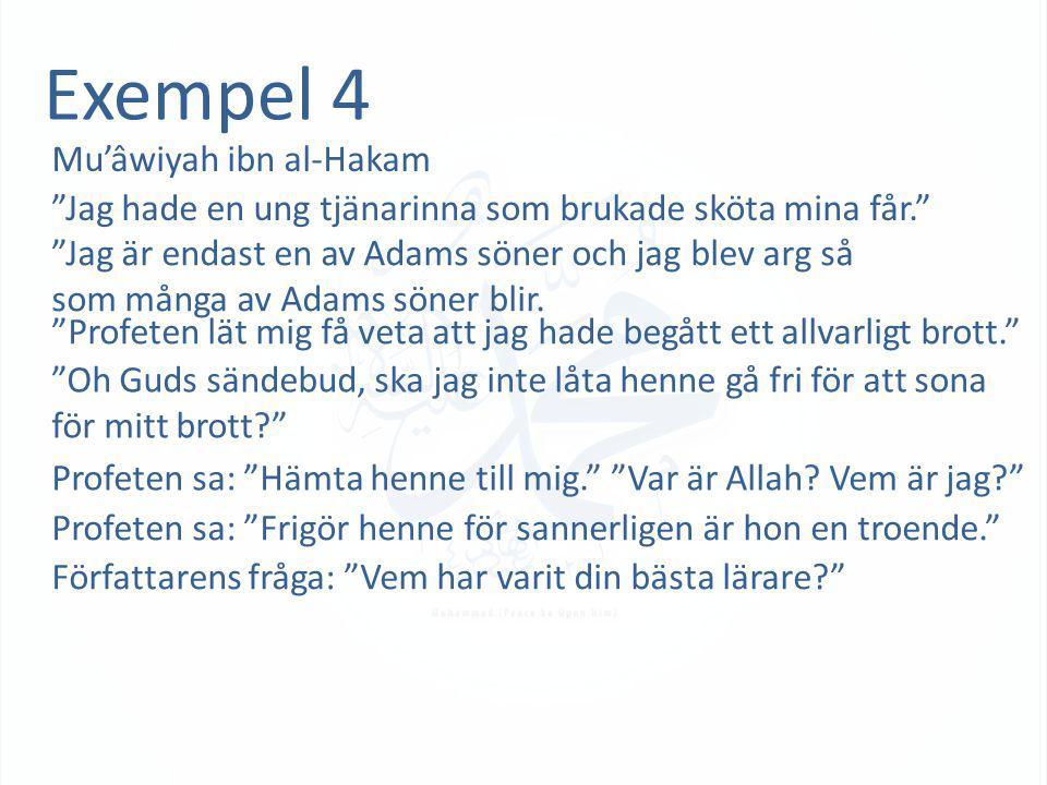 """Exempel 4 Mu'âwiyah ibn al-Hakam """"Jag hade en ung tjänarinna som brukade sköta mina får."""" """"Jag är endast en av Adams söner och jag blev arg så som mån"""
