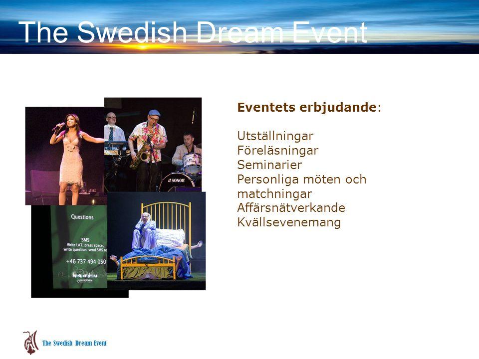 Eventets erbjudande: Utställningar Föreläsningar Seminarier Personliga möten och matchningar Affärsnätverkande Kvällsevenemang The Swedish Dream Event