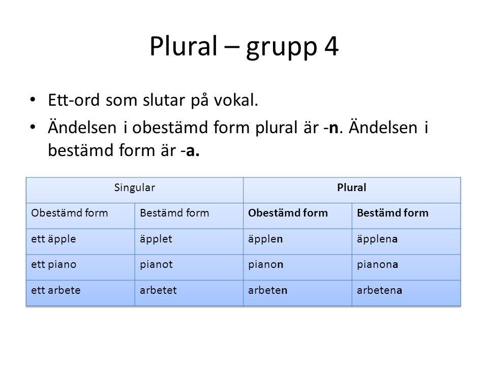 Plural – grupp 4 Ett-ord som slutar på vokal. Ändelsen i obestämd form plural är -n. Ändelsen i bestämd form är -a.