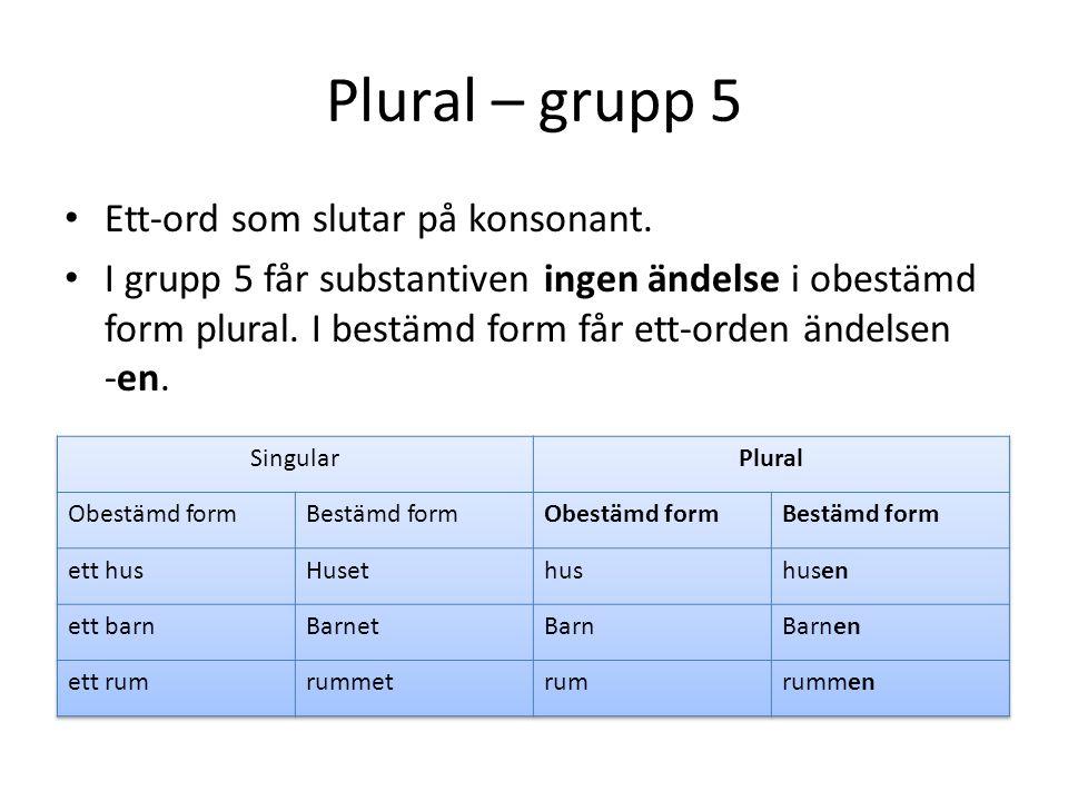 Plural – grupp 5 Ett-ord som slutar på konsonant. I grupp 5 får substantiven ingen ändelse i obestämd form plural. I bestämd form får ett-orden ändels