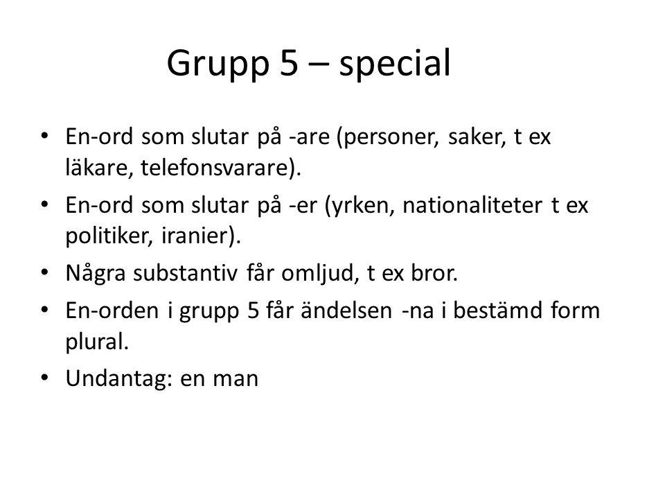 Grupp 5 – special En-ord som slutar på -are (personer, saker, t ex läkare, telefonsvarare). En-ord som slutar på -er (yrken, nationaliteter t ex polit