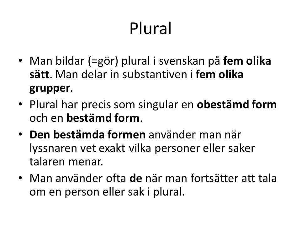 Plural Man bildar (=gör) plural i svenskan på fem olika sätt. Man delar in substantiven i fem olika grupper. Plural har precis som singular en obestäm