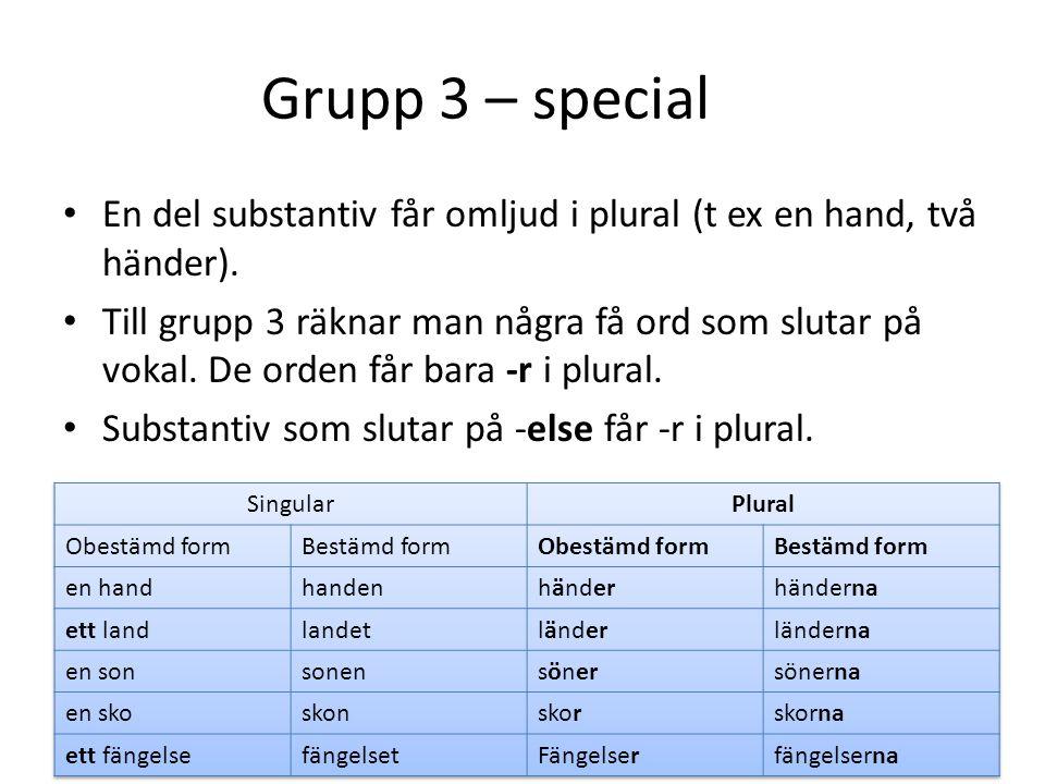 Plural – grupp 4 Ett-ord som slutar på vokal.Ändelsen i obestämd form plural är -n.