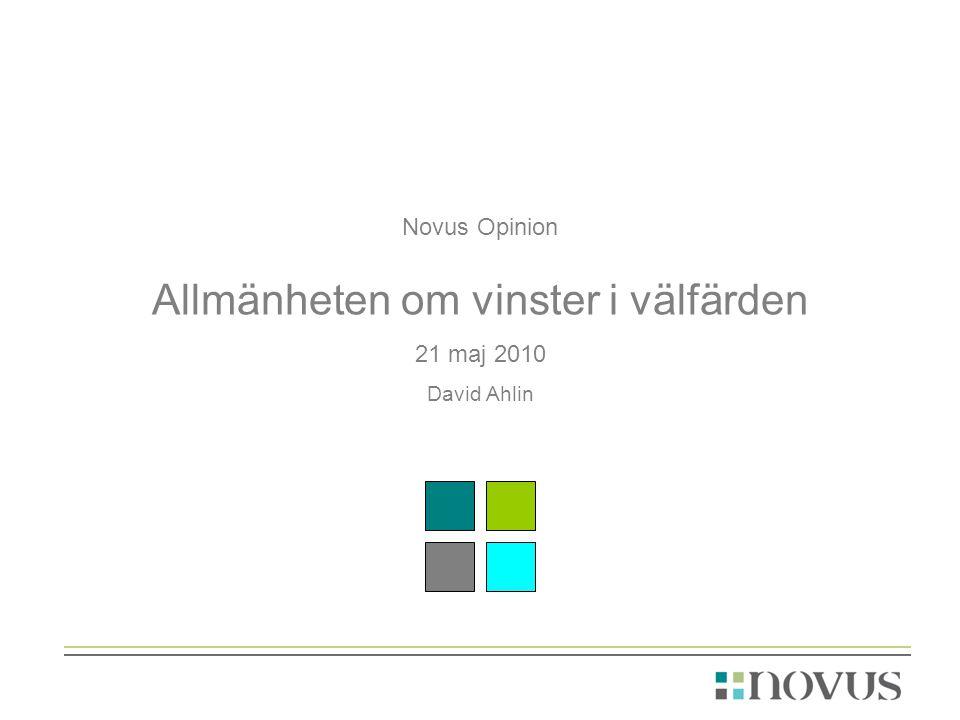 Novus Opinion Allmänheten om vinster i välfärden 21 maj 2010 David Ahlin