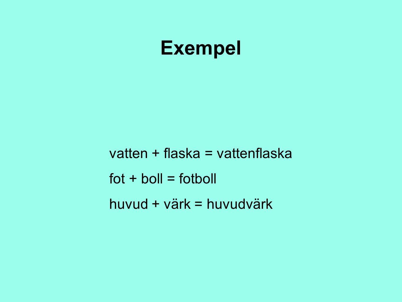 Exempel vatten + flaska = vattenflaska fot + boll = fotboll huvud + värk = huvudvärk