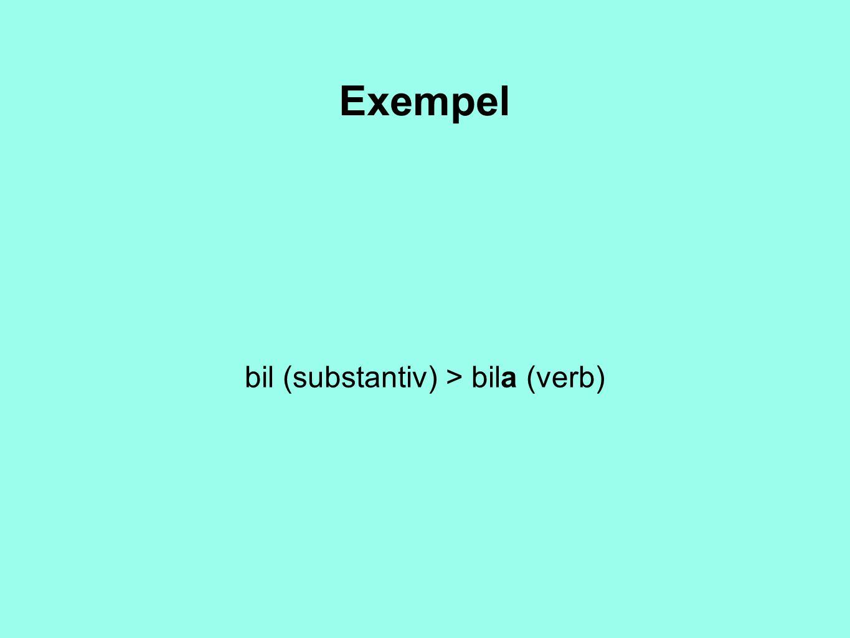Exempel bil (substantiv) > bila (verb)