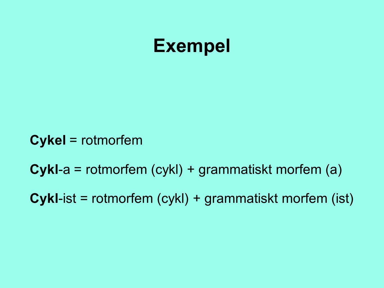Exempel Cykel = rotmorfem Cykl-a = rotmorfem (cykl) + grammatiskt morfem (a) Cykl-ist = rotmorfem (cykl) + grammatiskt morfem (ist)