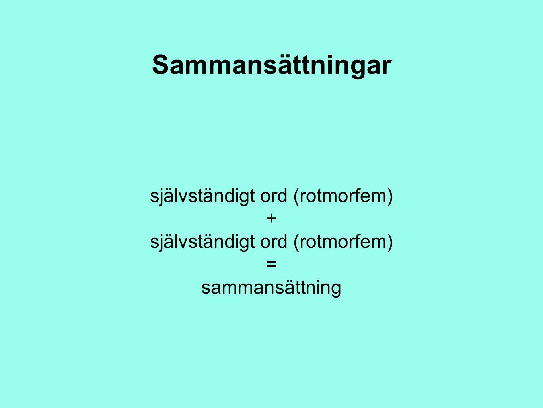 Sammansättningar självständigt ord (rotmorfem) + självständigt ord (rotmorfem) = sammansättning