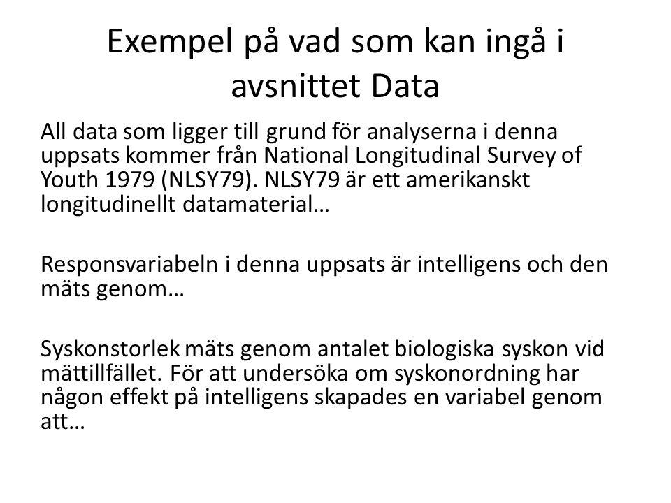 Exempel på vad som kan ingå i avsnittet Data All data som ligger till grund för analyserna i denna uppsats kommer från National Longitudinal Survey of