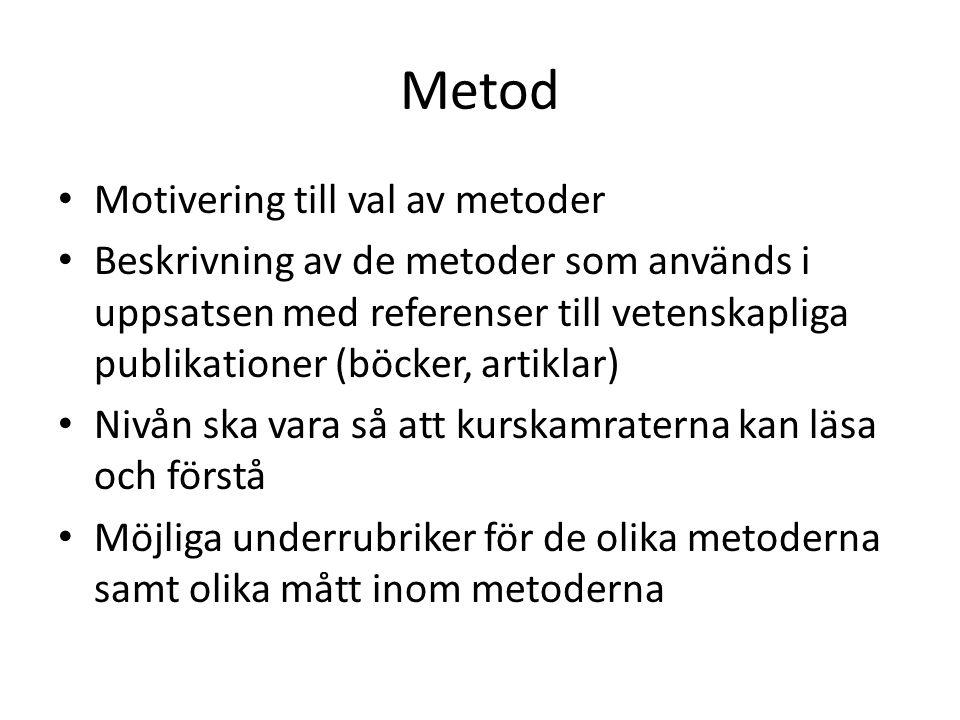 Metod Motivering till val av metoder Beskrivning av de metoder som används i uppsatsen med referenser till vetenskapliga publikationer (böcker, artikl