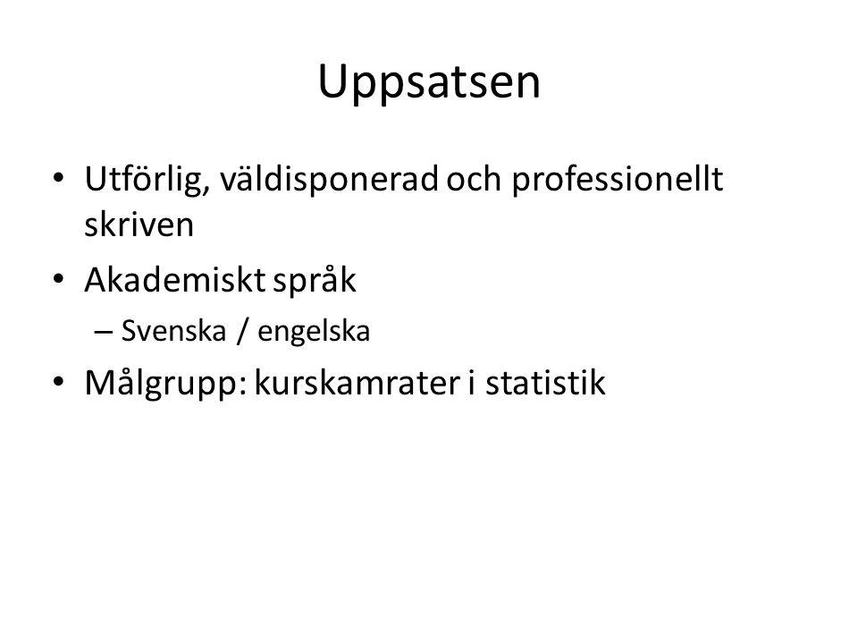 Uppsatsen Utförlig, väldisponerad och professionellt skriven Akademiskt språk – Svenska / engelska Målgrupp: kurskamrater i statistik