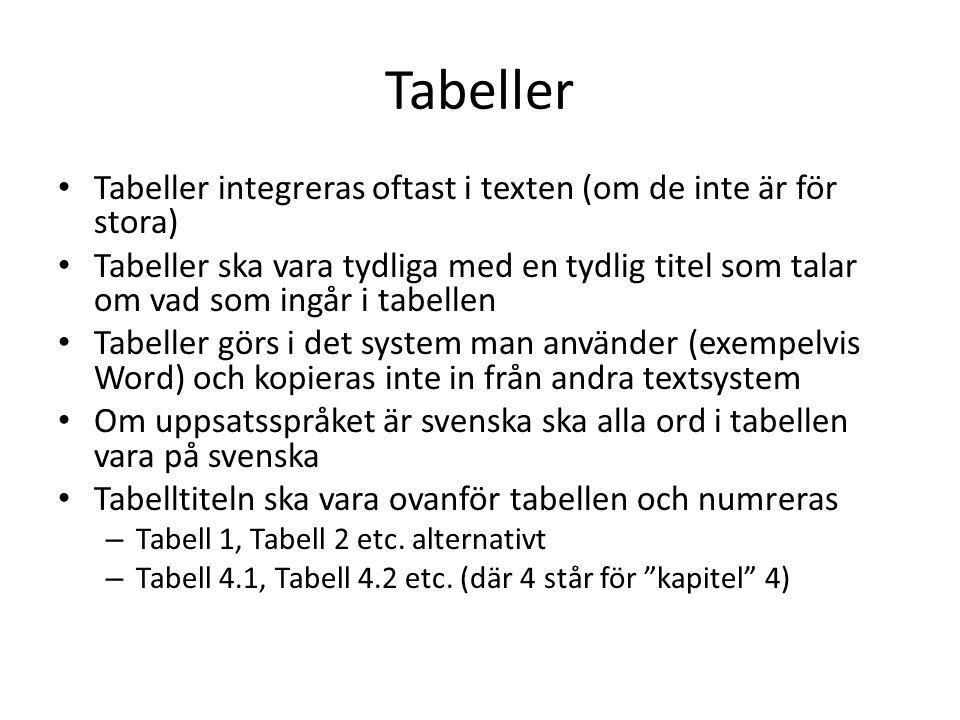 Tabeller Tabeller integreras oftast i texten (om de inte är för stora) Tabeller ska vara tydliga med en tydlig titel som talar om vad som ingår i tabe