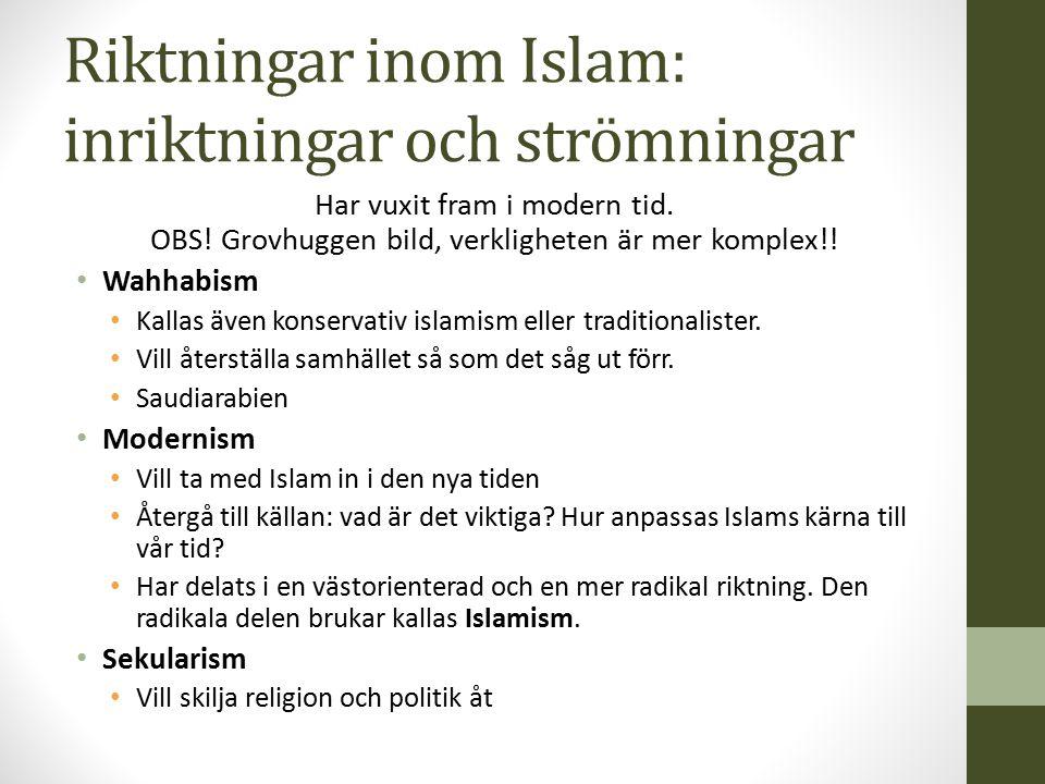 Riktningar inom Islam: inriktningar och strömningar Har vuxit fram i modern tid. OBS! Grovhuggen bild, verkligheten är mer komplex!! Wahhabism Kallas