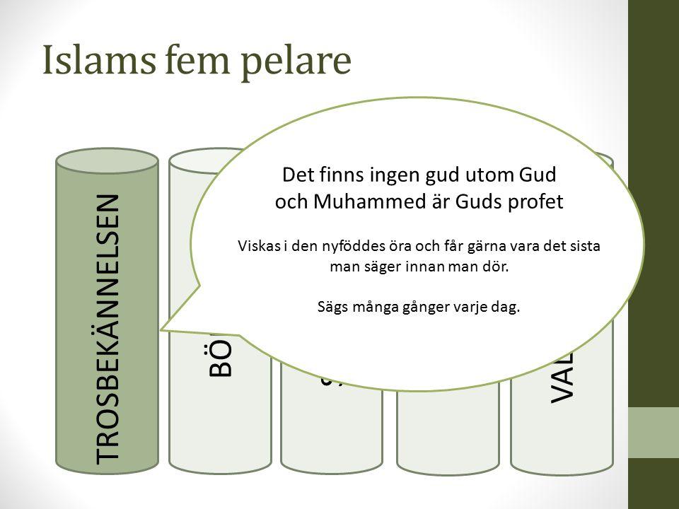 Islams fem pelare TROSBEKÄNNELSEN BÖNEN SKATTEN FASTAN VALLFÄRDEN Det finns ingen gud utom Gud och Muhammed är Guds profet Viskas i den nyföddes öra o