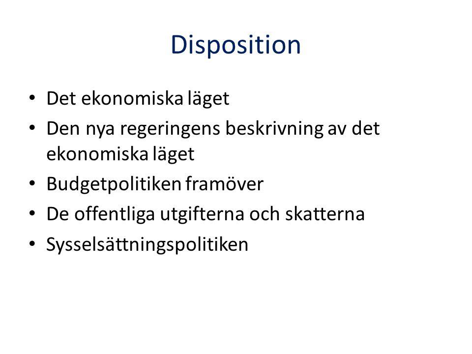 Disposition Det ekonomiska läget Den nya regeringens beskrivning av det ekonomiska läget Budgetpolitiken framöver De offentliga utgifterna och skatterna Sysselsättningspolitiken