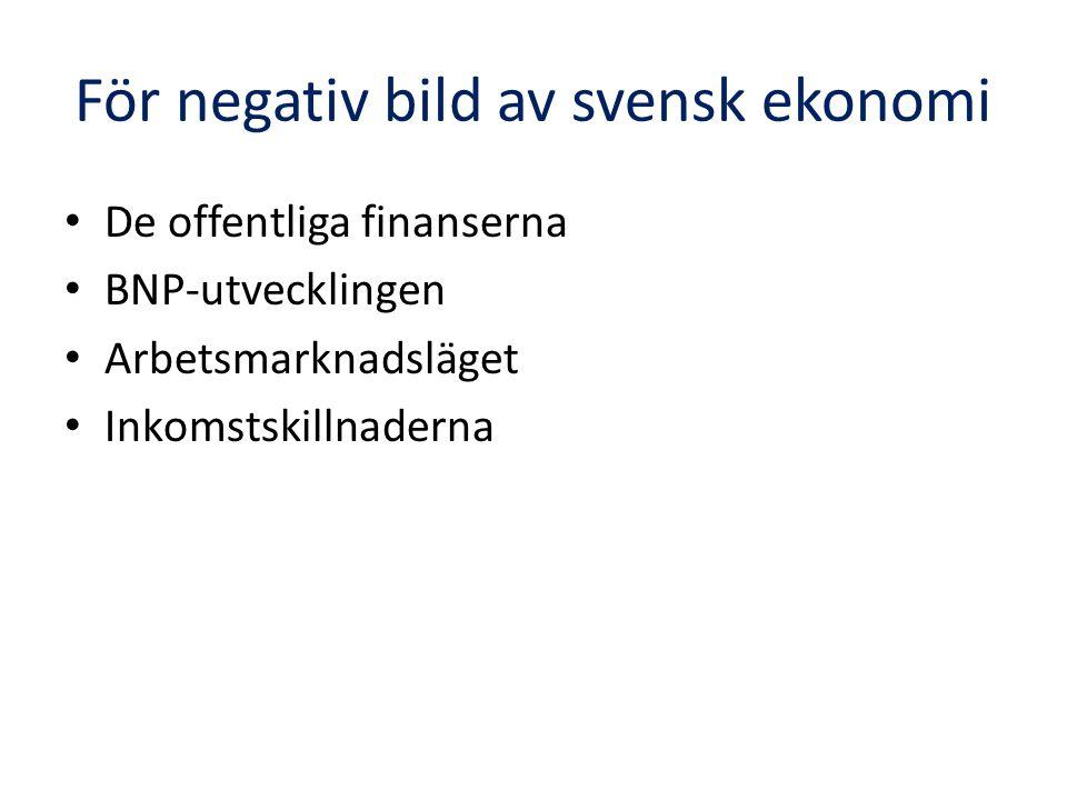För negativ bild av svensk ekonomi De offentliga finanserna BNP-utvecklingen Arbetsmarknadsläget Inkomstskillnaderna