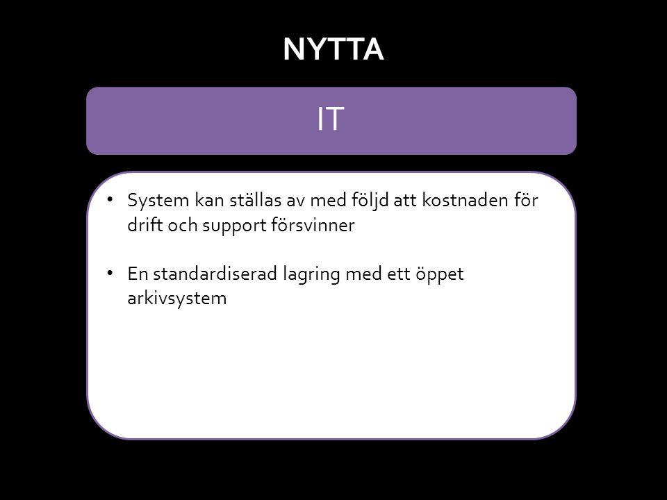 System kan ställas av med följd att kostnaden för drift och support försvinner En standardiserad lagring med ett öppet arkivsystem NYTTA IT