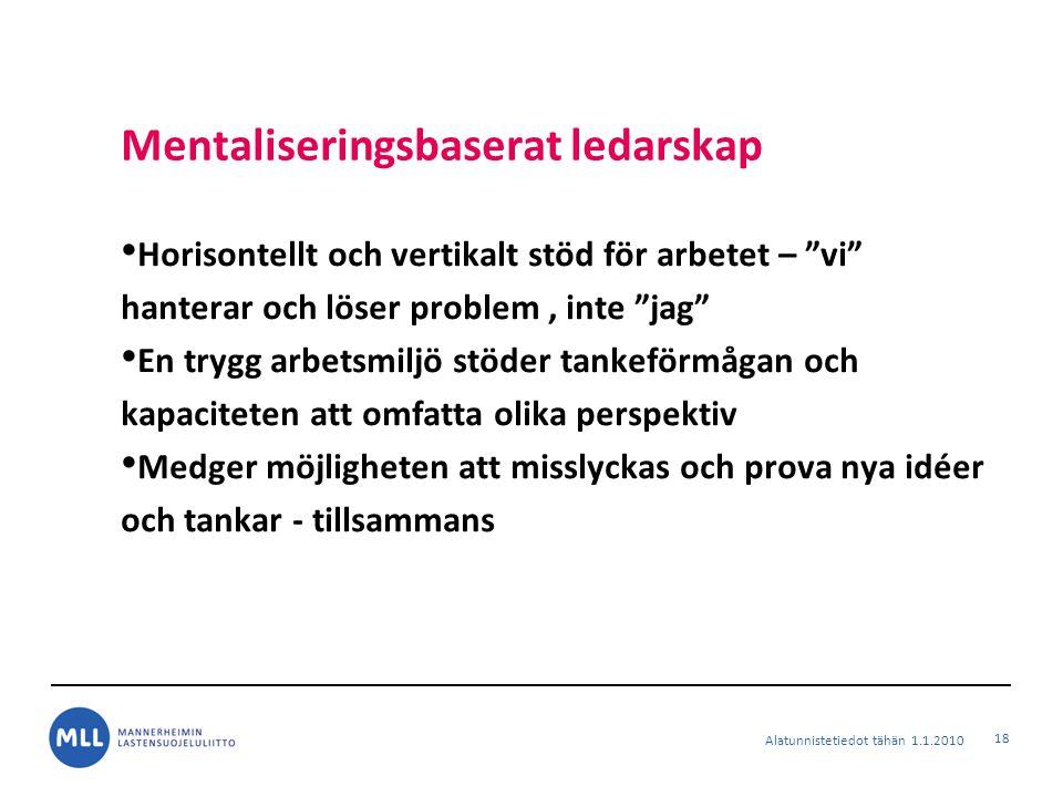 """Mentaliseringsbaserat ledarskap Horisontellt och vertikalt stöd för arbetet – """"vi"""" hanterar och löser problem, inte """"jag"""" En trygg arbetsmiljö stöder"""