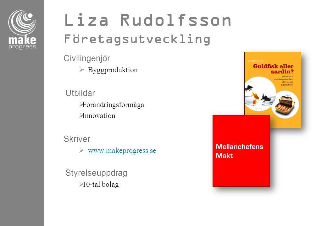 Liza Rudolfsson Företagsutveckling Civilingenjör  Byggproduktion Utbildar  Förändringsförmåga  Innovation Skriver  www.makeprogress.se www.makepro