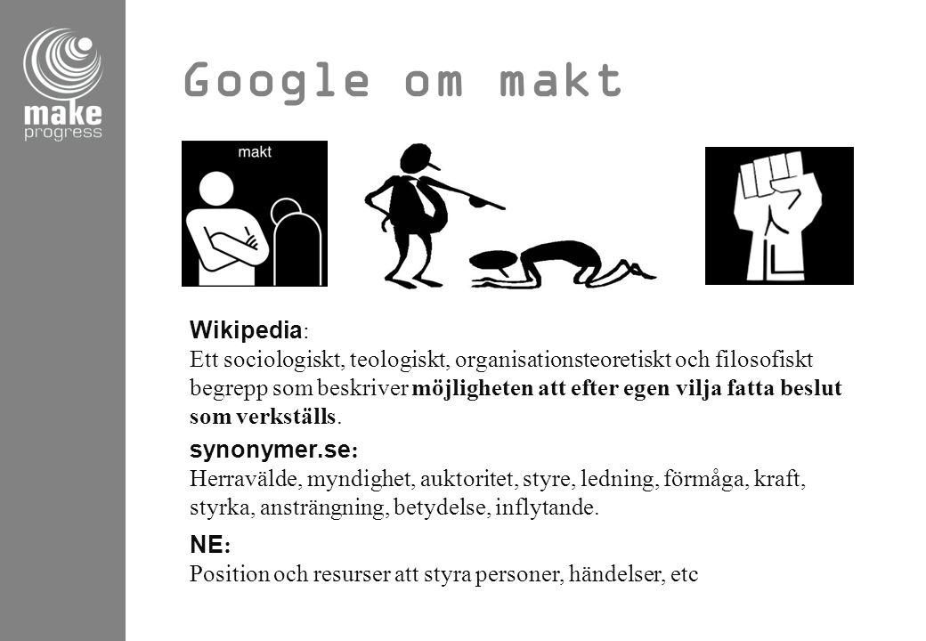 Google om makt synonymer.se: Herravälde, myndighet, auktoritet, styre, ledning, förmåga, kraft, styrka, ansträngning, betydelse, inflytande. NE: Posit