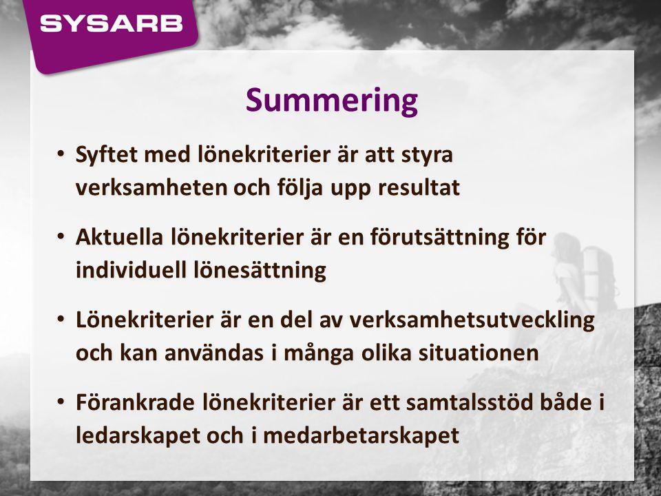 Summering Syftet med lönekriterier är att styra verksamheten och följa upp resultat Aktuella lönekriterier är en förutsättning för individuell lönesät