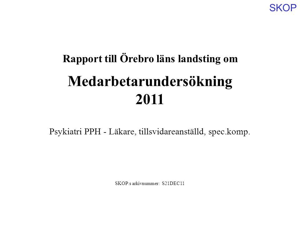 SKOP Rapport till Örebro läns landsting om Medarbetarundersökning 2011 SKOP:s arkivnummer: S21DEC11 Psykiatri PPH - Läkare, tillsvidareanställd, spec.komp.