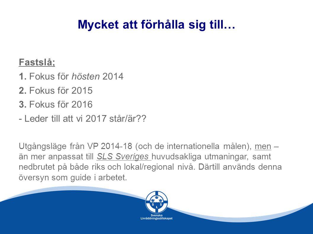 Mycket att förhålla sig till… Fastslå; 1.Fokus för hösten 2014 2.
