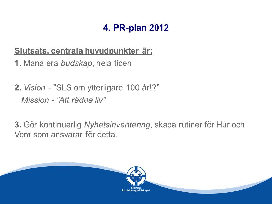 4.PR-plan 2012 Slutsats, centrala huvudpunkter är: 1.