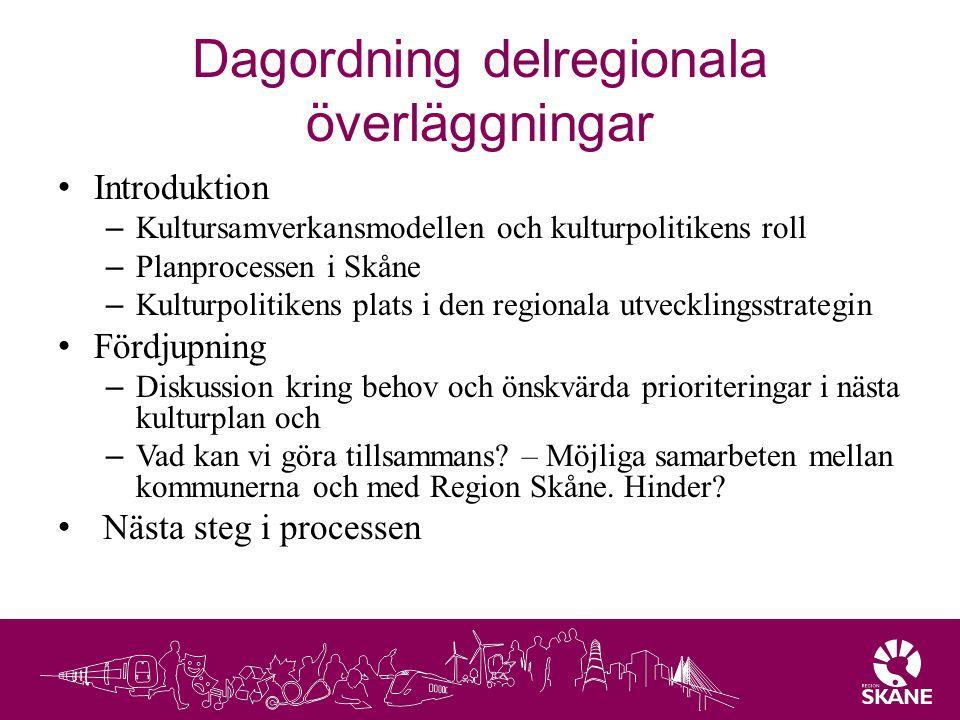 Dagordning delregionala överläggningar Introduktion – Kultursamverkansmodellen och kulturpolitikens roll – Planprocessen i Skåne – Kulturpolitikens pl