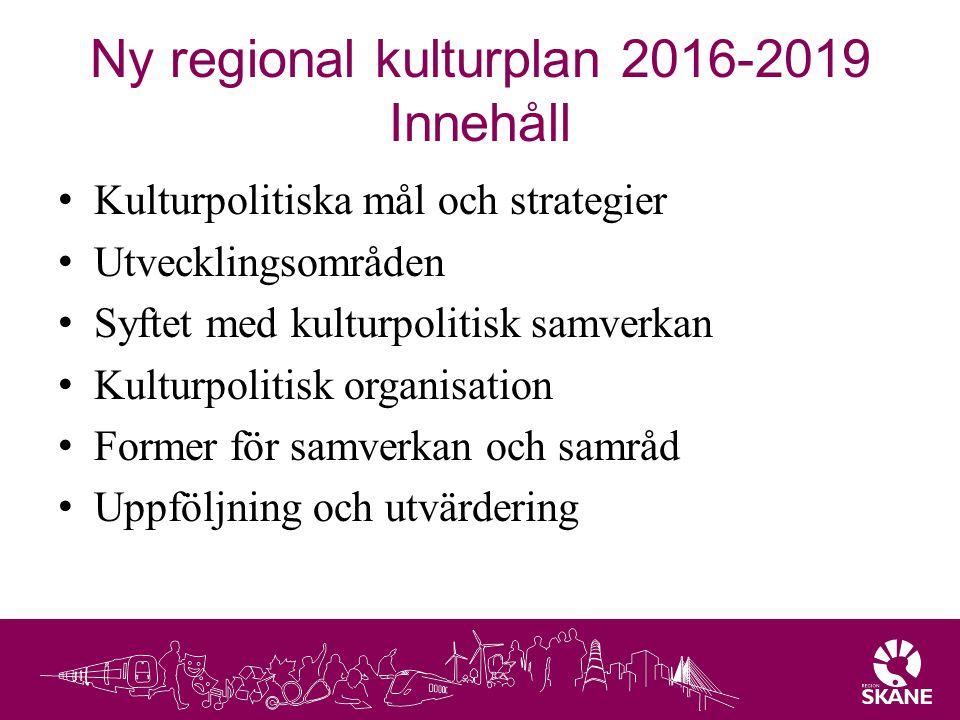 Ny regional kulturplan 2016-2019 Innehåll Kulturpolitiska mål och strategier Utvecklingsområden Syftet med kulturpolitisk samverkan Kulturpolitisk org
