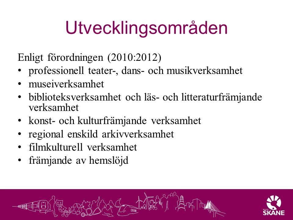 Utvecklingsområden Enligt förordningen (2010:2012) professionell teater-, dans- och musikverksamhet museiverksamhet biblioteksverksamhet och läs- och