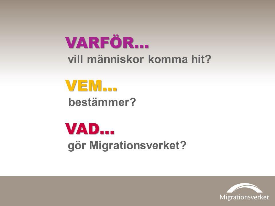 VARFÖR… vill människor komma hit?VEM… bestämmer?VAD… gör Migrationsverket?