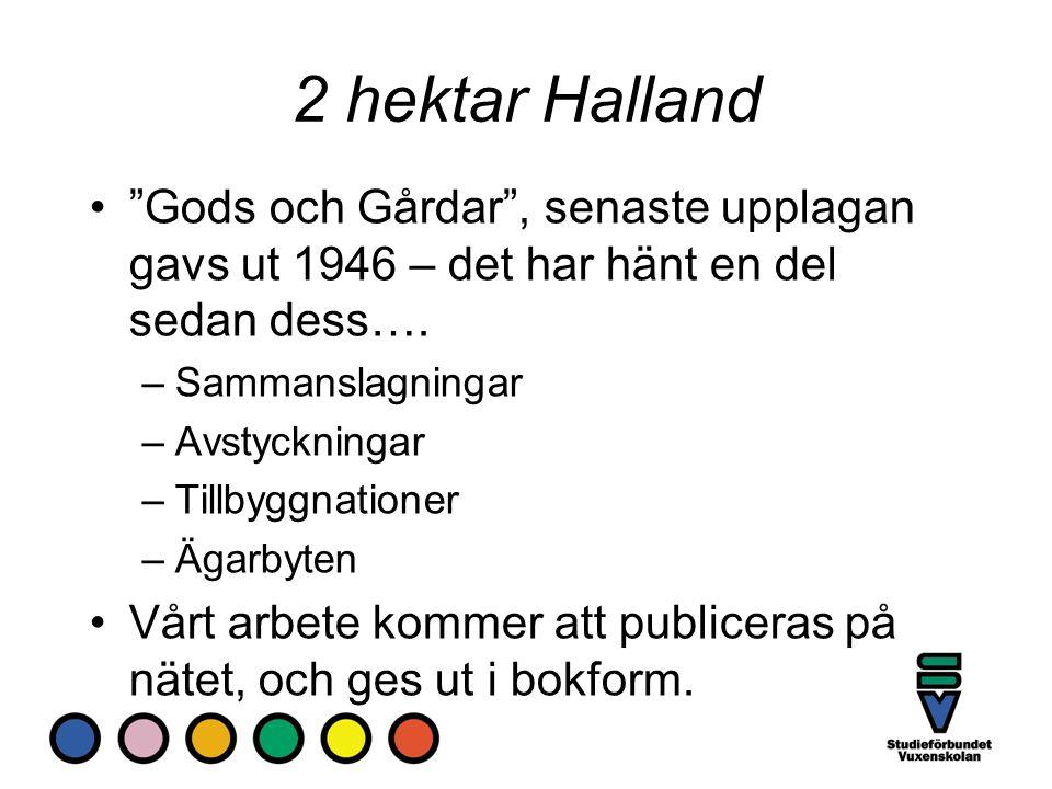 """2 hektar Halland """"Gods och Gårdar"""", senaste upplagan gavs ut 1946 – det har hänt en del sedan dess…. –Sammanslagningar –Avstyckningar –Tillbyggnatione"""