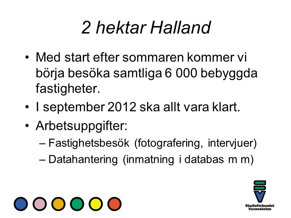 2 hektar Halland Med start efter sommaren kommer vi börja besöka samtliga 6 000 bebyggda fastigheter. I september 2012 ska allt vara klart. Arbetsuppg