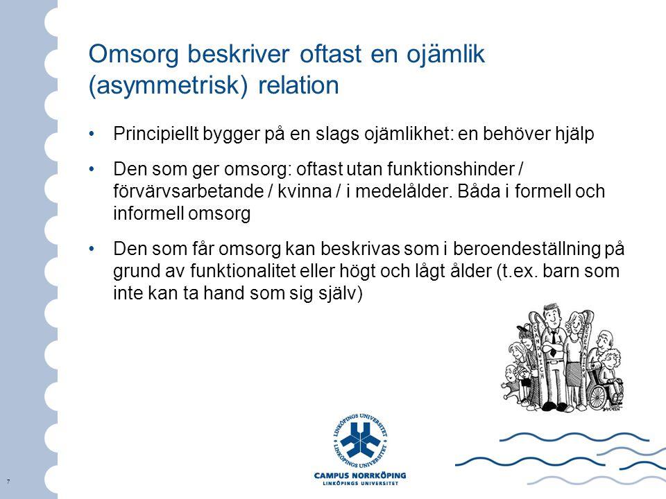 7 Omsorg beskriver oftast en ojämlik (asymmetrisk) relation Principiellt bygger på en slags ojämlikhet: en behöver hjälp Den som ger omsorg: oftast ut