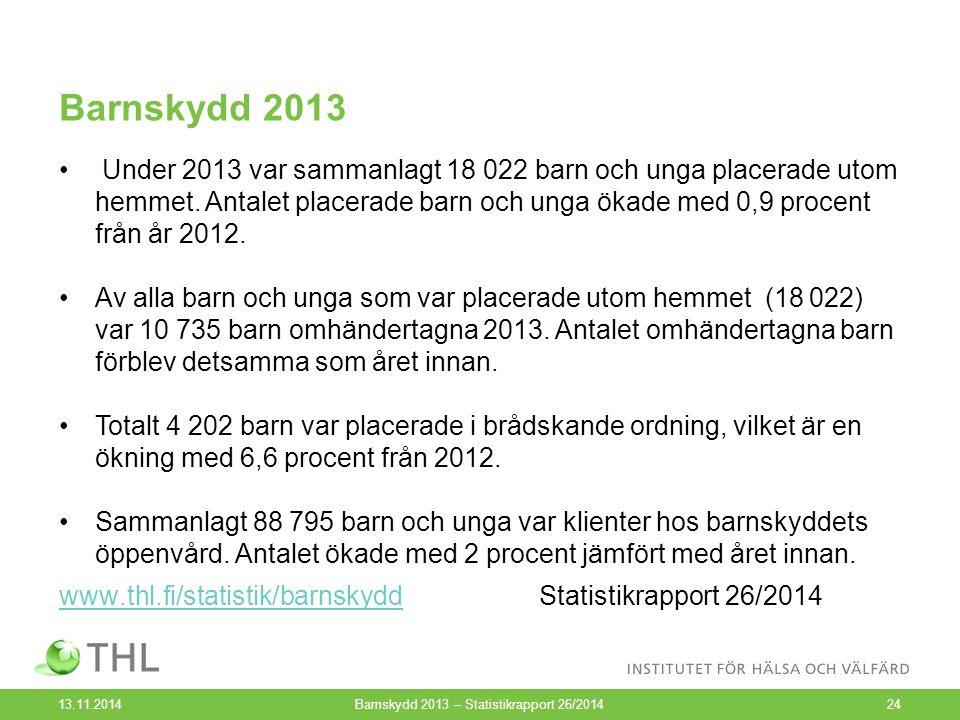 Barnskydd 2013 13.11.2014Barnskydd 2013 – Statistikrapport 26/201424 Under 2013 var sammanlagt 18 022 barn och unga placerade utom hemmet. Antalet pla