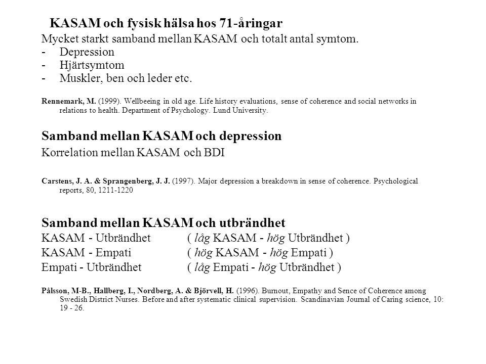 KASAM och fysisk hälsa hos 71-åringar Mycket starkt samband mellan KASAM och totalt antal symtom. -Depression -Hjärtsymtom -Muskler, ben och leder etc