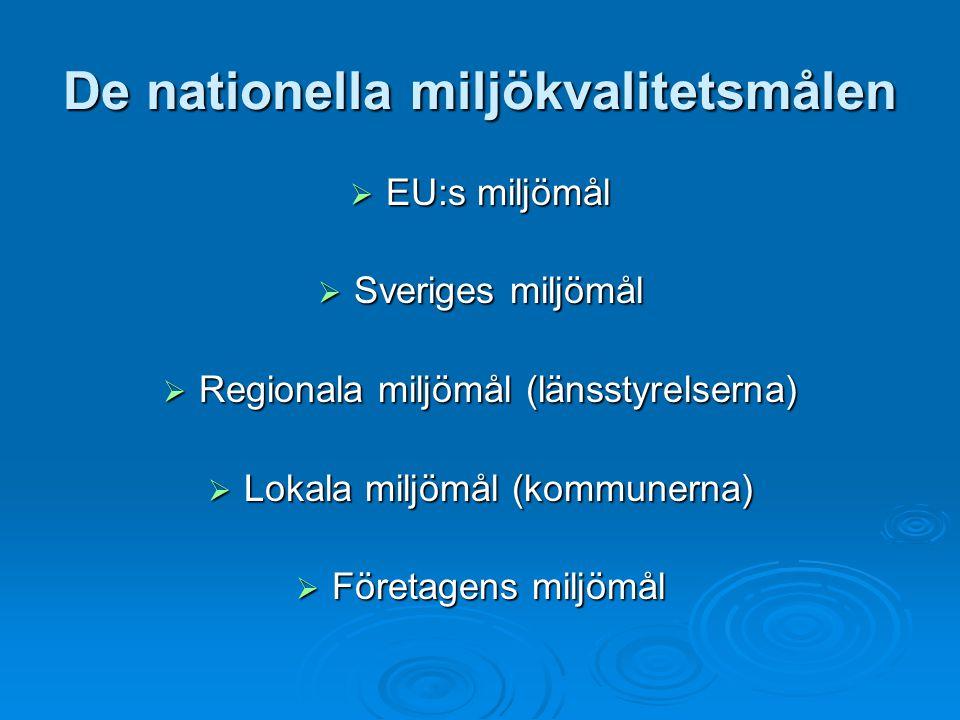 De nationella miljökvalitetsmålen  EU:s miljömål  Sveriges miljömål  Regionala miljömål (länsstyrelserna)  Lokala miljömål (kommunerna)  Företage