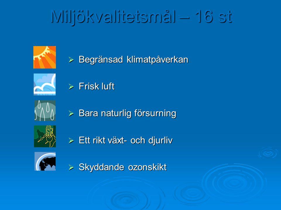 Miljökvalitetsmål – 16 st  Begränsad klimatpåverkan  Frisk luft  Bara naturlig försurning  Ett rikt växt- och djurliv  Skyddande ozonskikt