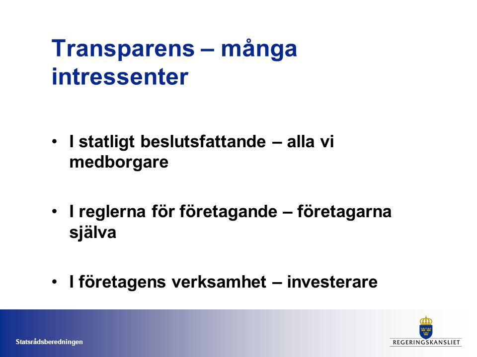 Statsrådsberedningen Transparens – många intressenter I statligt beslutsfattande – alla vi medborgare I reglerna för företagande – företagarna själva I företagens verksamhet – investerare