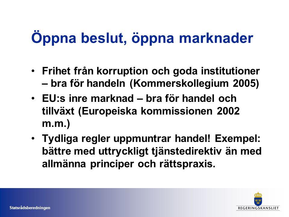 Statsrådsberedningen Öppna beslut, öppna marknader Frihet från korruption och goda institutioner – bra för handeln (Kommerskollegium 2005) EU:s inre marknad – bra för handel och tillväxt (Europeiska kommissionen 2002 m.m.) Tydliga regler uppmuntrar handel.