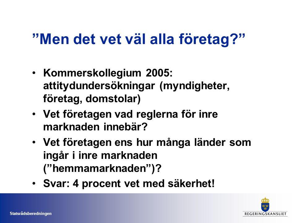 Statsrådsberedningen Men det vet väl alla företag Kommerskollegium 2005: attitydundersökningar (myndigheter, företag, domstolar) Vet företagen vad reglerna för inre marknaden innebär.