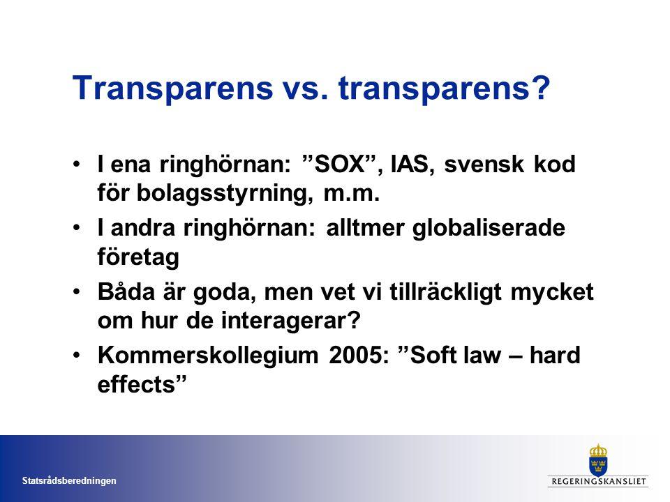 Statsrådsberedningen Transparens vs. transparens.