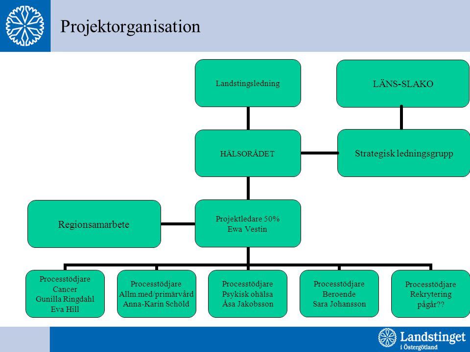 Projektorganisation Regionsamarbete Strategisk ledningsgrupp LÄNS-SLAKO