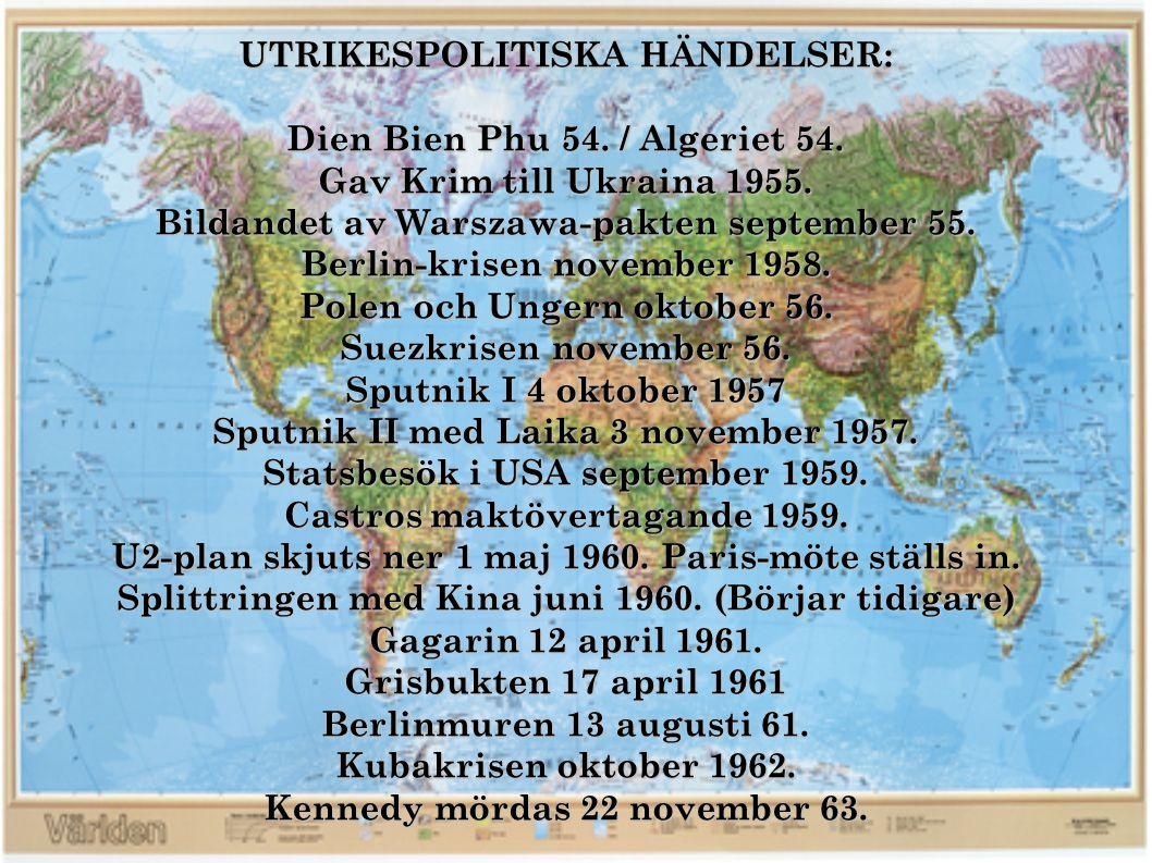 UTRIKESPOLITISKA HÄNDELSER: Dien Bien Phu 54. / Algeriet 54.
