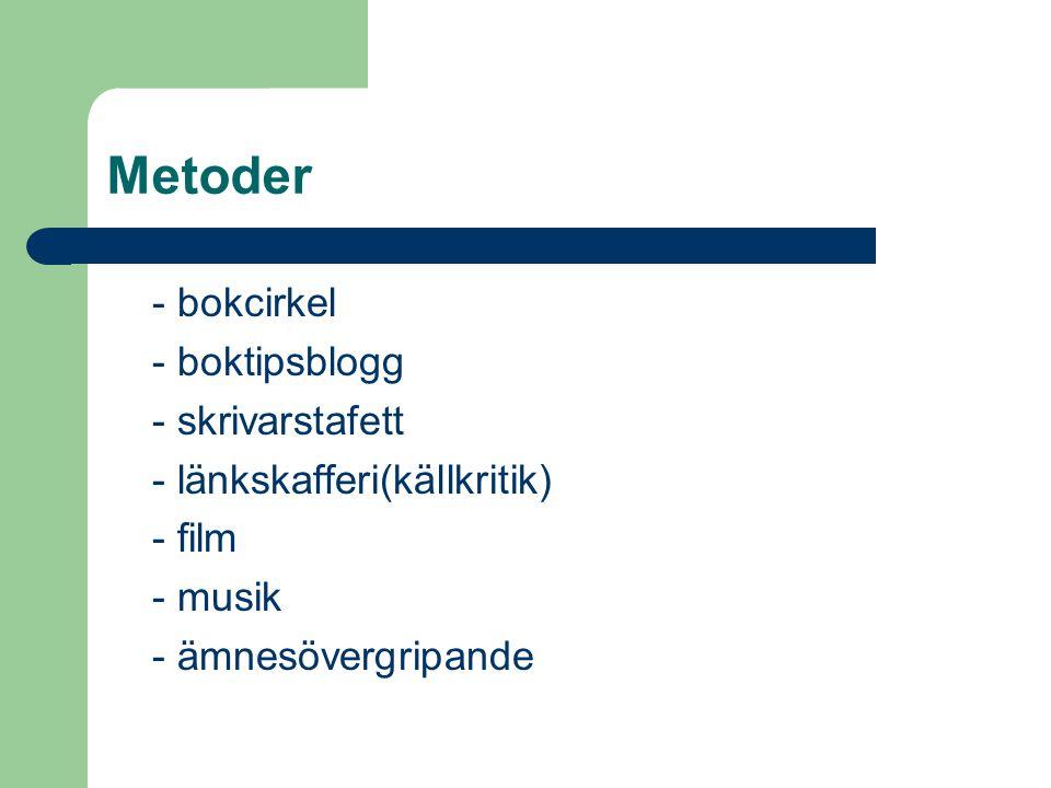 Metoder - bokcirkel - boktipsblogg - skrivarstafett - länkskafferi(källkritik) - film - musik - ämnesövergripande