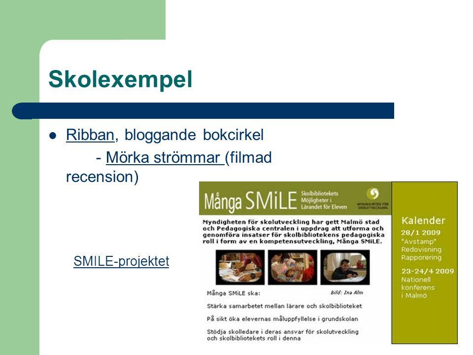 Skolexempel Ribban, bloggande bokcirkel Ribban - Mörka strömmar (filmad recension)Mörka strömmar SMILE-projektet