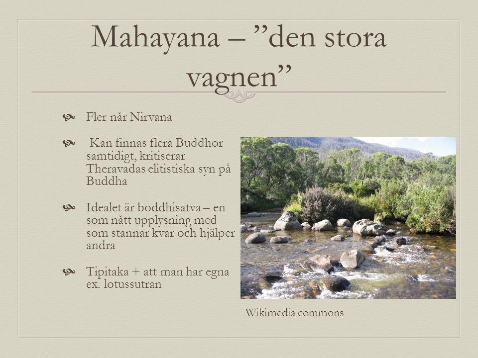 """Mahayana – """"den stora vagnen""""  Fler når Nirvana  Kan finnas flera Buddhor samtidigt, kritiserar Theravadas elitistiska syn på Buddha  Idealet är bo"""